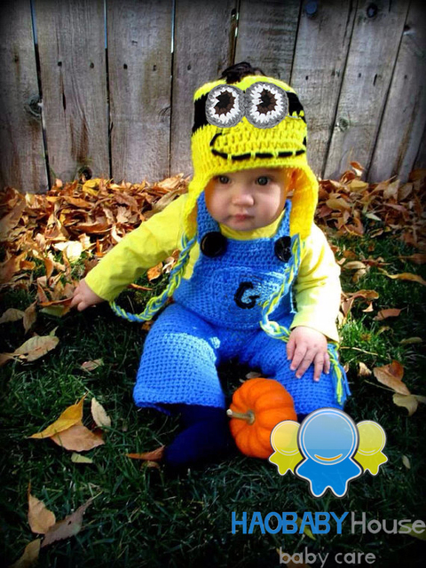newborn crochet outfits gorro Despicable Me minion Hat Suspender Pants Set  Knitting Baby crochet Outfits Newborn Beanie set c1ac2561de0