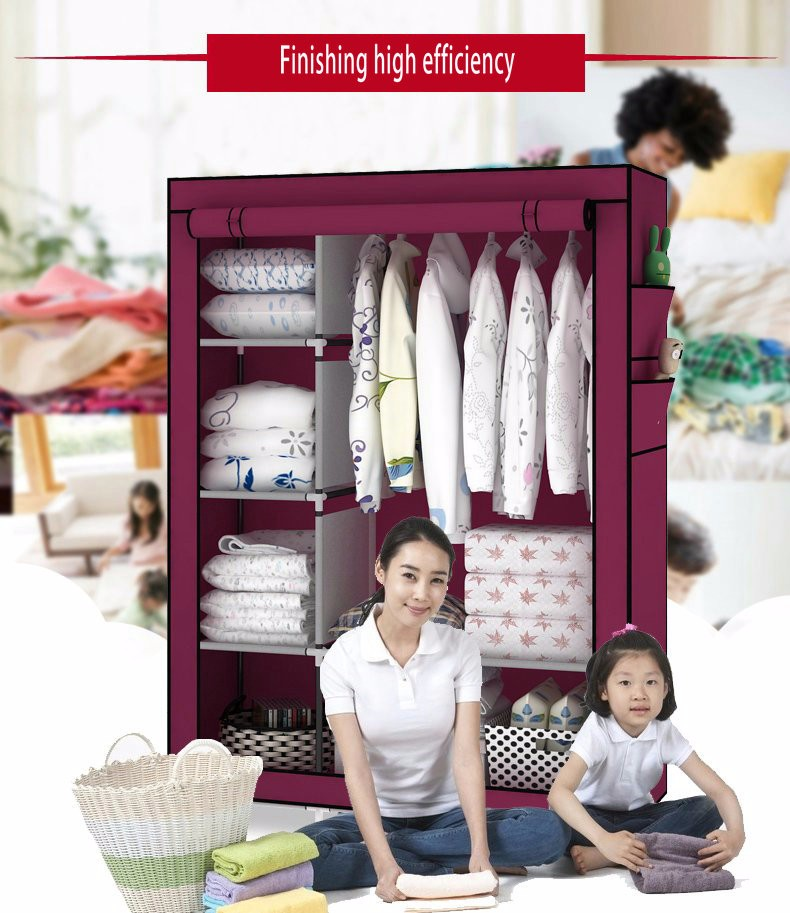 Furniture Folding Non-woven Cloth Wardrobe Dustproof Fabric Closet Steel Pipe Diy Assembly Clothes Storage Cabinet Children Room Furniture Complete Range Of Articles Wardrobes