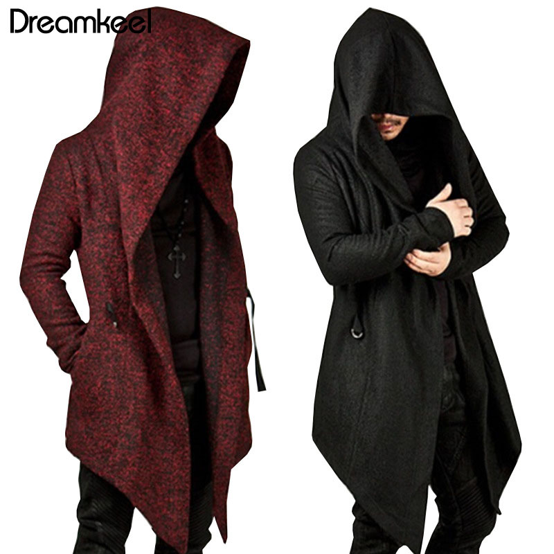 2019 Men Hooded Sweatshirts Black Hip Hop Mantle Hoodies Fashion Jacket Long Sleeves Cloak Man's Coats Outwear Hot Sale Y