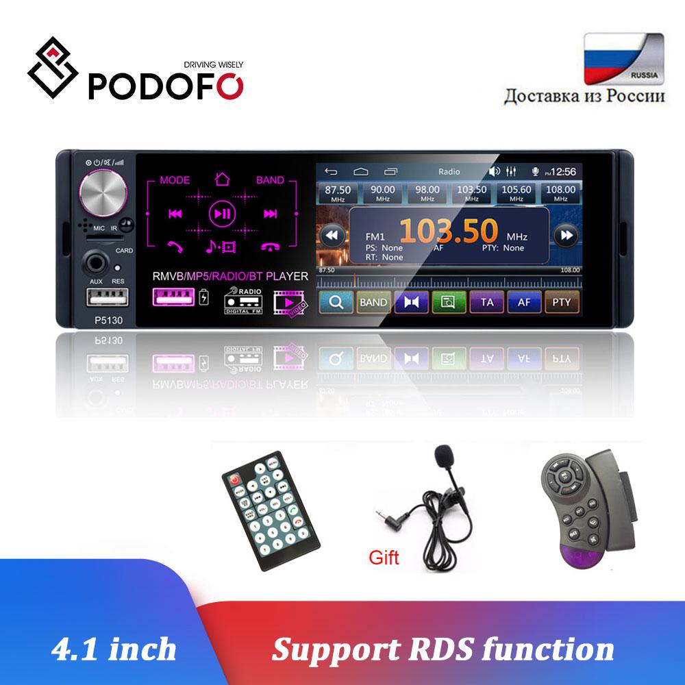 "Podofo 4.1 ""Auto Radio 1Din Touch Screen Bluetooth Autoradio RDS USB AUX MP5 Video Player MP3 Auto Audio Stereo unterstützung Mikrofon"