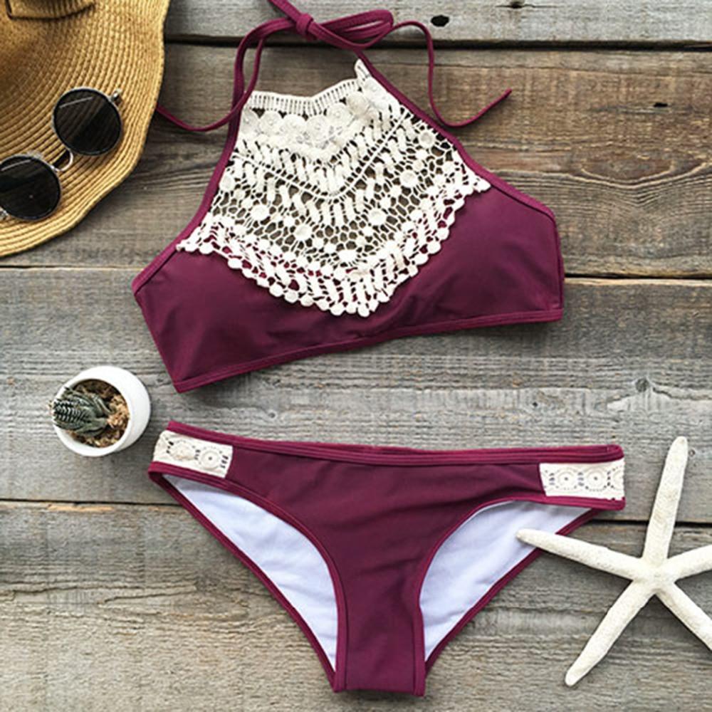 CUPSHE Dark Blue Halter Bikini Set Women Cutout Backless Crop Top Two Pieces Swimwear 2019 Girl Beach Bathing Suits Swimsuits