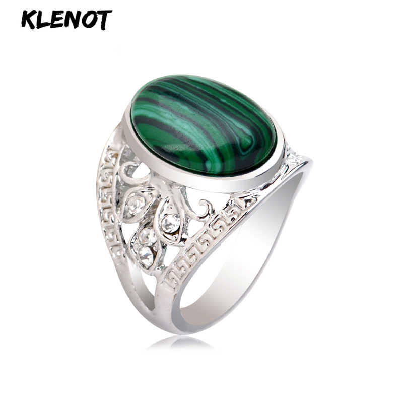 Vintage Malachite Stone Silver Ring for Women Green Antique Oval setting Hollow out Crystal Tibetan Finger Rings Jewelry