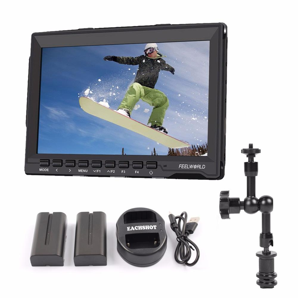 Feelworld FW-759 7 1080P Camera Field Monitor Ultra HD IPS Screen FPV Monitor with Magic Arm for DSLR Camera + 2 batteries set