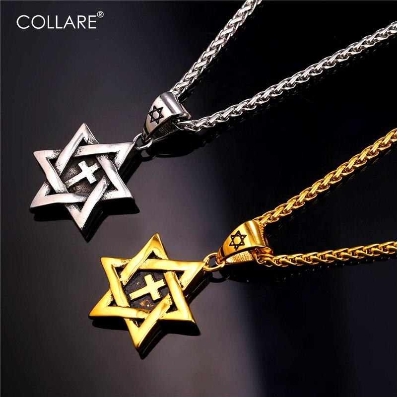 e076691da0d3 U7 estrella de David Cruz collares y colgantes de acero inoxidable amarillo  chapado en oro collar mujer hombres judía joyería p201Collares y  colgantesCollar ...