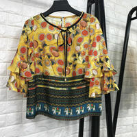 Women Fashion 2018 New Arrival Spring Summer Women Silk Blouse Ruffles Sleeve Vintage Patterns Floral Print