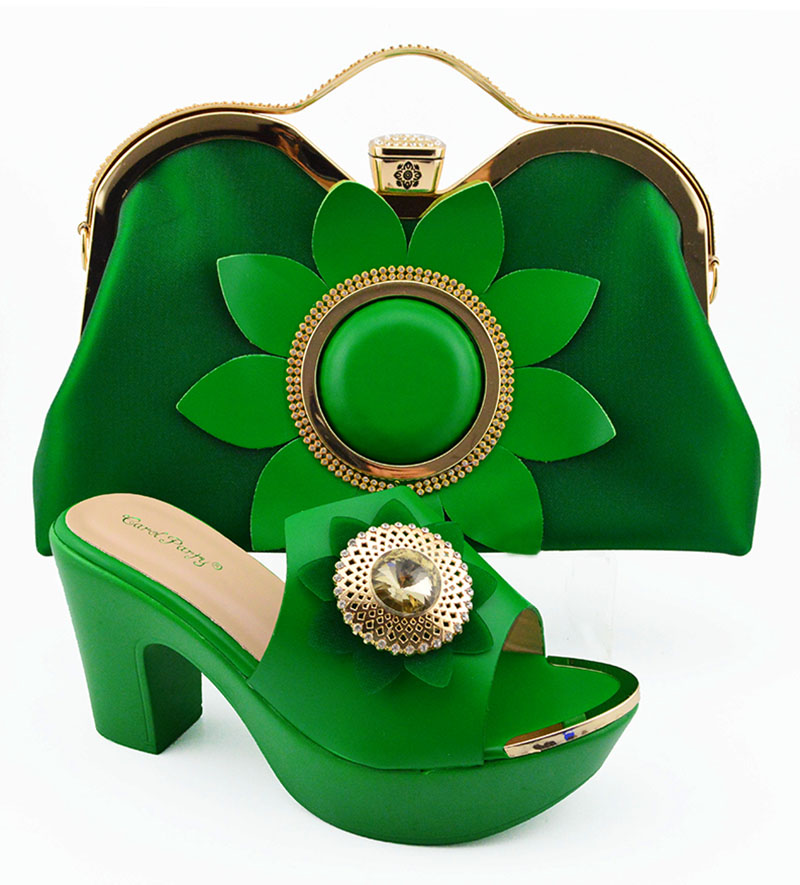 Fashion green shoes and bag matching set in italy design for african aso ebi lady  size 38 to 42 high heel shoe bag SB8198-7Fashion green shoes and bag matching set in italy design for african aso ebi lady  size 38 to 42 high heel shoe bag SB8198-7