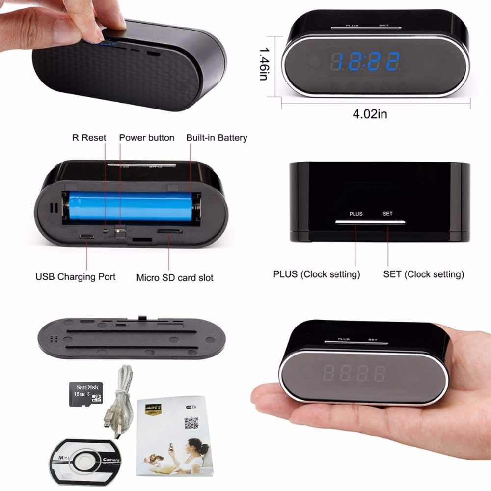 Remote Detection Mini Clock Camera Alarm P2P Livecam IR Night Vision Wifi Cam IP 1080P Mini DV DVR Camcorder Invisible hidden