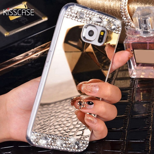 KISSCASE Luxury Bling Diamond Case For Samsung Galaxy Note 8 S8 Plus S7 S6 Edge J7 J5 A7 A5 A3 2016 2017 Mirror Back Cover Capa