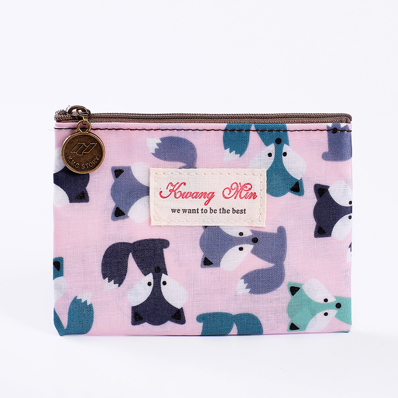 2017 Cotton Cute Fox Pattern Coin Purse For Women Wallet Credit Card Organizer New Waterproof Item Pouch Clutch Zipper Pocket 2087 women new fashion long hasp wallet cute purse for juniors flower pattern design magnetic snap closure credit store
