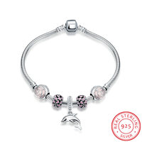 Ann Snow New Design Dolphin Charm Bracelets Bangles 100 925 Sterling Silver Unique DIY Flower Bracelets