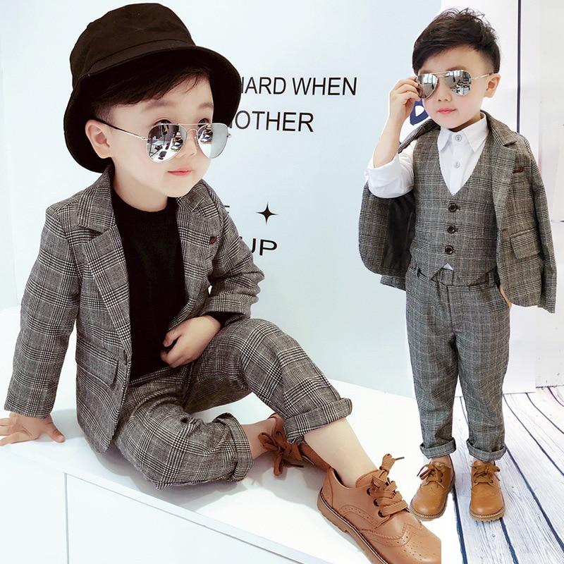 Children's Suit Sets  Boys Plaid Suit Vest Trousets 3pcs Clothing Sets Kids  British Style Party School Costume