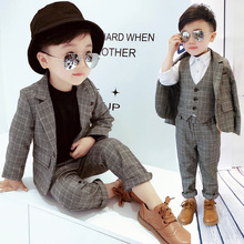 Children's Suit Sets Boys Plaid Suit Vest Trousets 3pcs Clot