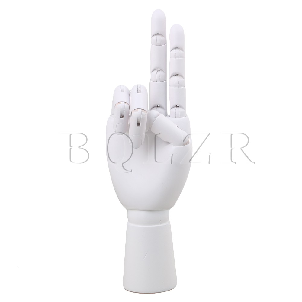 10 White Wood Right Hand Artist Model Action Finger Sculpture Mannequin BQLZR new 2pcs female right left vivid foot mannequin jewerly display model art sketch