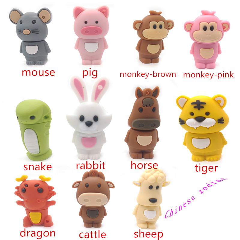 Chinese Zodiac usb flash drive pendrive 64gb 32gb 16gb 8gb 4gb memory disk cartoon animal usb stick snake rabbit pig pen drive