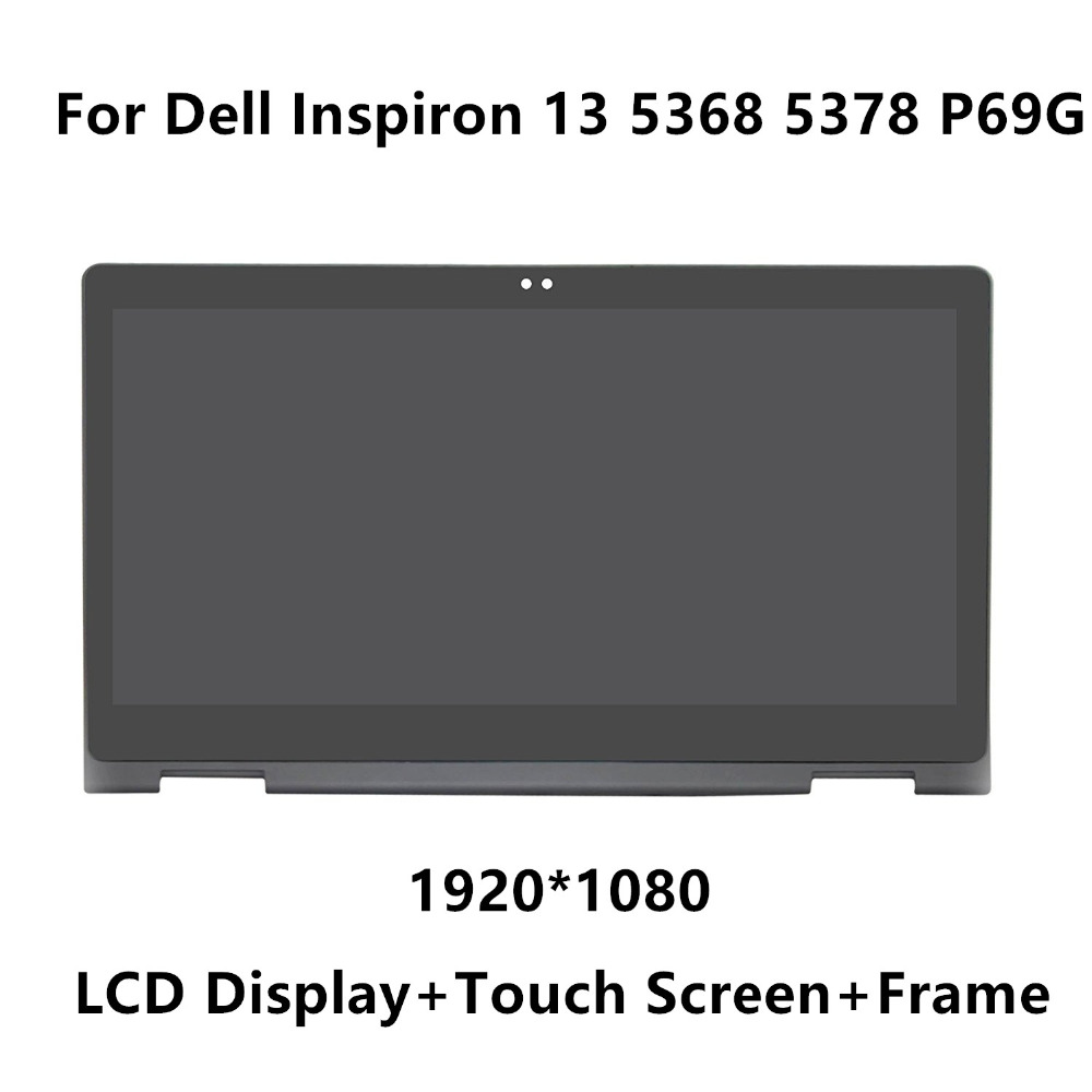 цена на 13.3'' Complete LCD Display Panel Touch Glass Digitizer Screen Lens Assembly + Bezel For Dell Inspiron 13 5368 5378 P69G IPS FHD