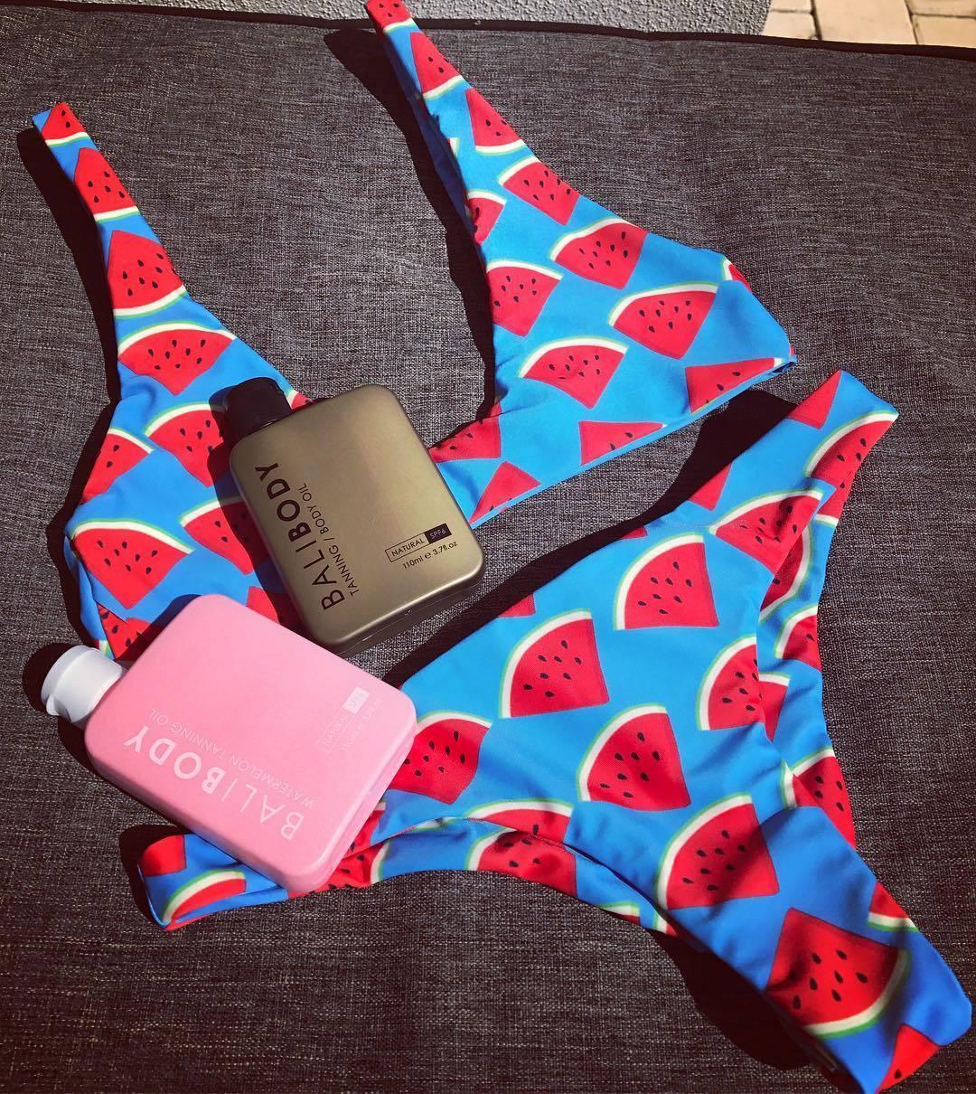 Womens Summer Watermelon Bikini Triangle Swimwear Swimsuit Bathing Beachwear