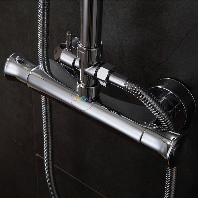 Bathroom Shower Mixer Chrome Finished Shower Faucet Wall Mounted Shower Valve Mixer Tap Thermostatic Faucet Not