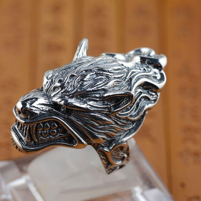 FNJ 925 Sterling Zilveren Ring Wolf head Animal Punk anillos Mannelijke Vintage S925 Thai Zilveren Ringen voor Mannen Sieraden Grote size-in Ringen van Sieraden & accessoires op  Groep 1