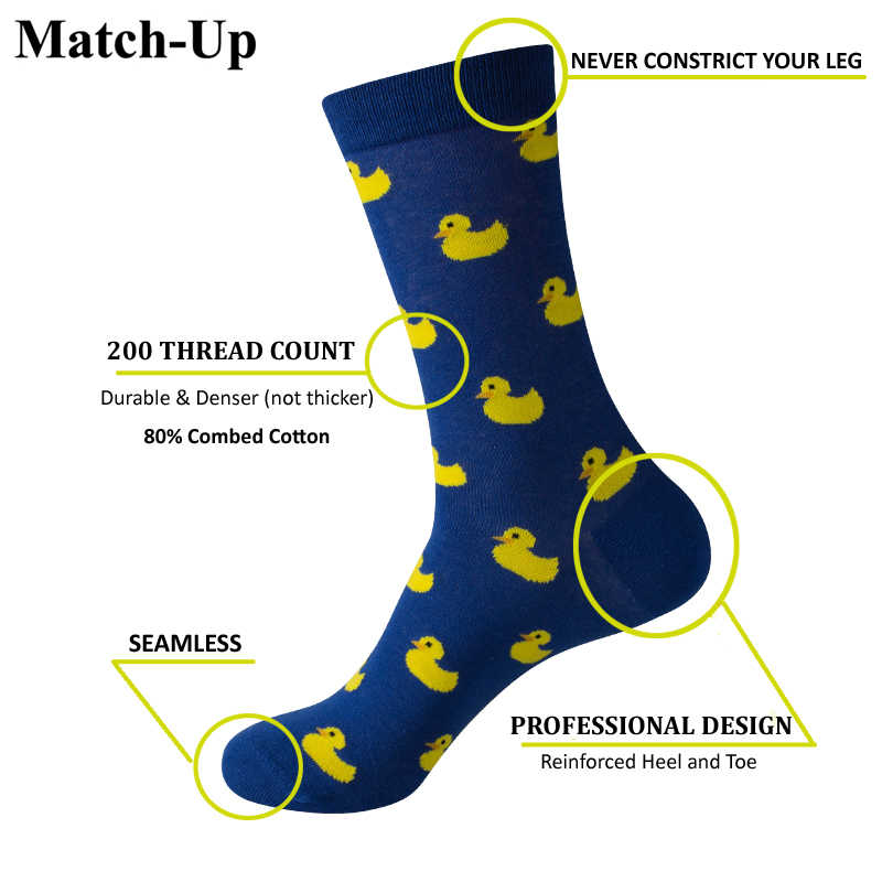 Match-Up Men Glasses Skull Pattern Cartoon Funny  Colorful Cotton Socks (5 pairs/lot )