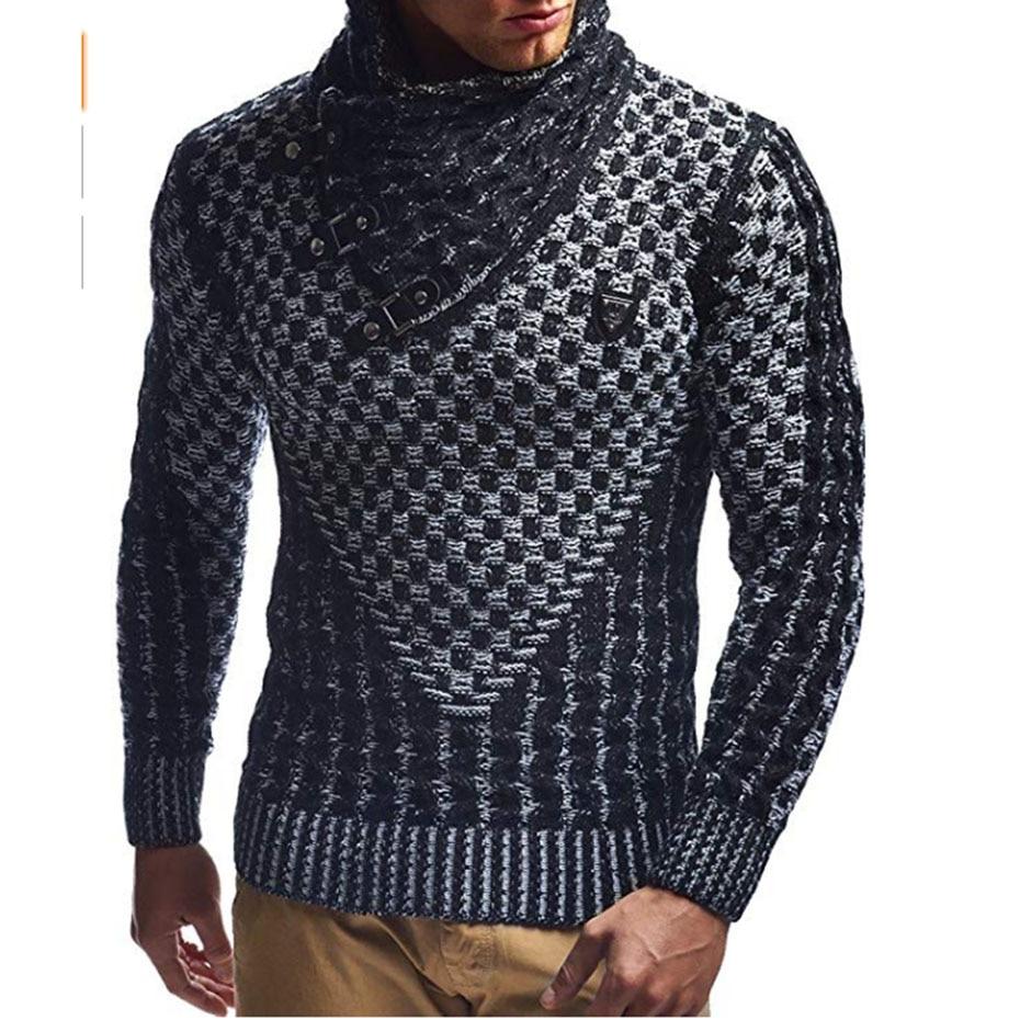 ZOGAA Mens Sweaters 2019 Warm Hedging Turtleneck Pullover Sweater Man Casual Knitwear Slim Winter Sweater Male Brand Clothing