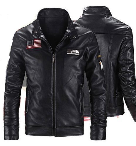 Autumn Winter Men Leather Coat Fashion Slim Stand Collar Short Locomotive PU Fur Clothing Leather Jacket Man Tops OUTERWEAR