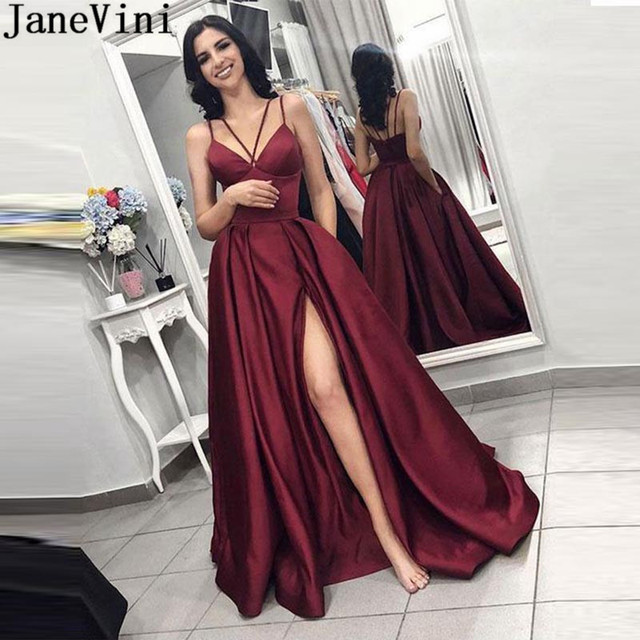 bdc324a46077 JaneVini Elegant Long Burgundy Bridesmaid Dress Side Split Backless Ladies Wedding  Guest Dress A Line Floor Length Party Gowns