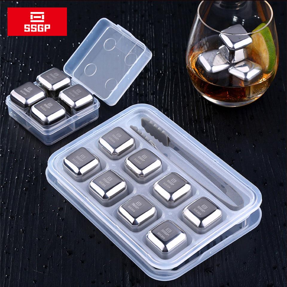 SSGP камни для вина и виски, чиллер, Ледяной Камень 304, кубики льда из нержавеющей стали, многоразовый металлический холодильник для пива для в...