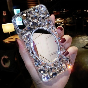 LaMaDiaa Rhinestone Case Diamond Bling Phone mirror Cover coque fundas For Xiaomi8 9 SE MAX 2 5X 6X Redmi 6A 5A 8A Note7 6 8 Pro