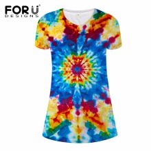 FORUDESIGNS 2017 Fashion Summer Dress Bright Colorful  Short Sleeve Plus Size Women Vestidos De Festa XL