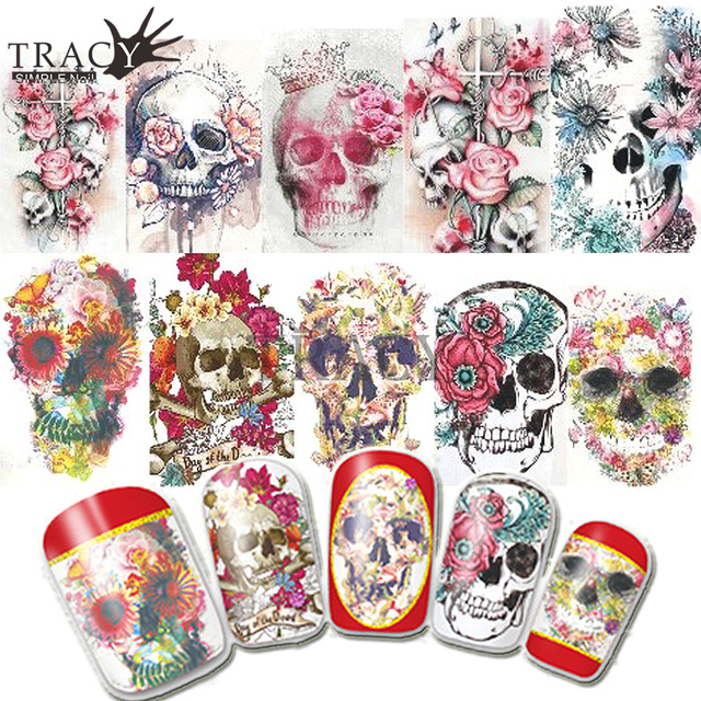 Halloween Colorful Skull Lady Nail Art