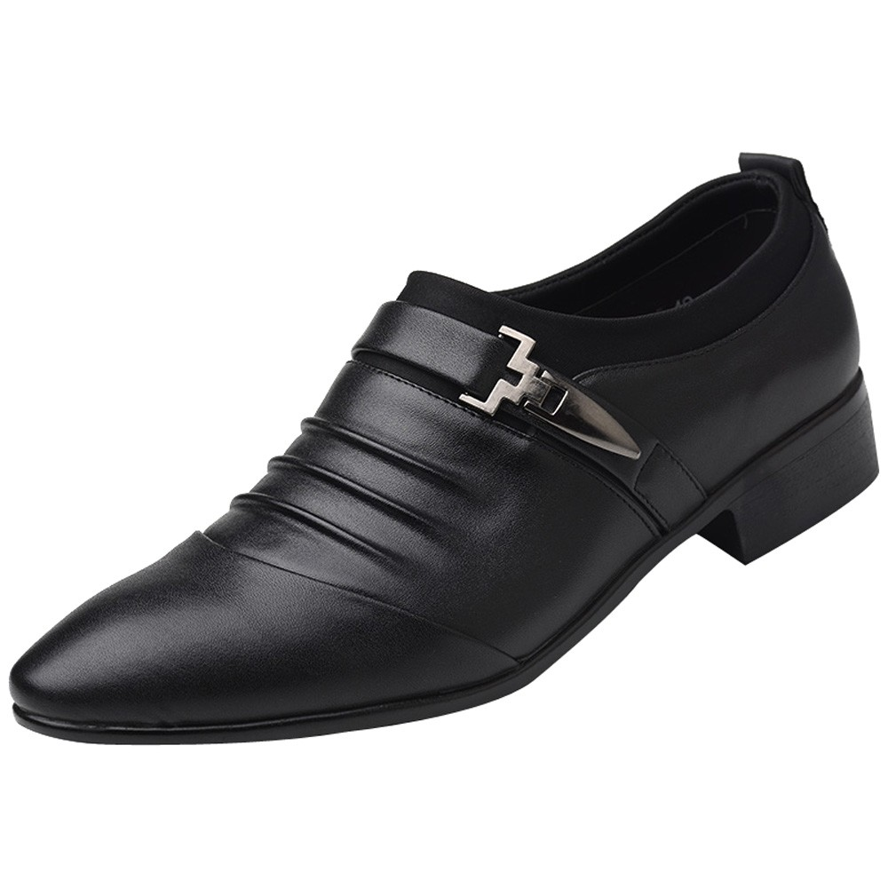 New British Men's Slip On Split Leather Pointed Toe Men Dress Shoes Business Wedding Oxfords Formal Shoes For Male 2018 38-47 pointed toe men dress oxfords shoes italian leather male wedding party formal shoes black slip on fashion design business shoes