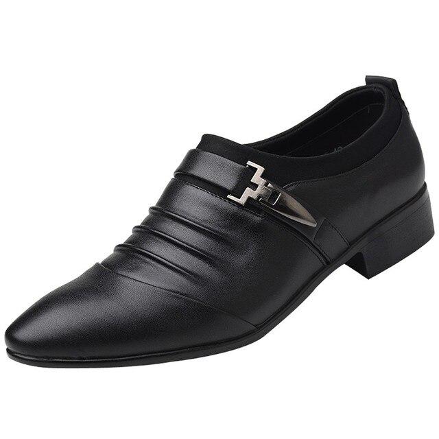 138cd960e Nowy brytyjski męskie Slip On skóra Split Pointed Toe mężczyźni ubierają buty  ślubne biznes oksfordzie formalne