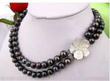 7651494da3f0 Envío libre al por mayor 100% de la joyería Natural de  AAA + 8-9mm  tahitian negro perla natural collar de 18-19