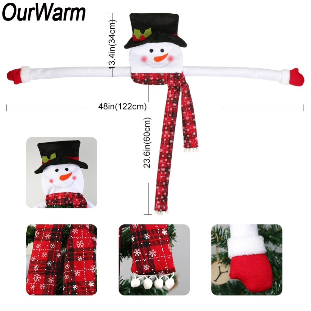 OurWarm Bow Christmas Tree Topper Snowman Elk Santa Claus Christmas ...