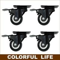 Export Quality High Load Bearing 1 5 Inch PU Casters Wheels With Brake Mute Furniture Trolleys