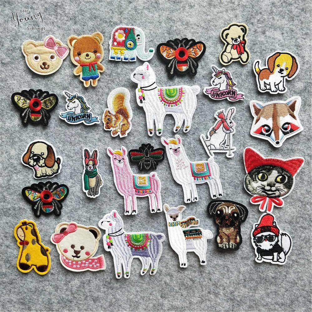 Mix Hot melt adhesive iron Patches Cute Animal Sheep bee dog Embroidered Applique Stickers Jacket Badges DIY Clothing Accessory