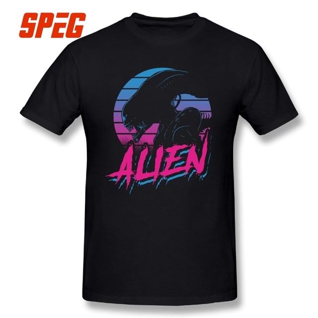 ALIEN EIGHTEES Vaporwave Alien Covenant T Shirt Alien vs Predator 100% Cotton Tees Short Sleeves T-Shirt Designs Men Plus Size
