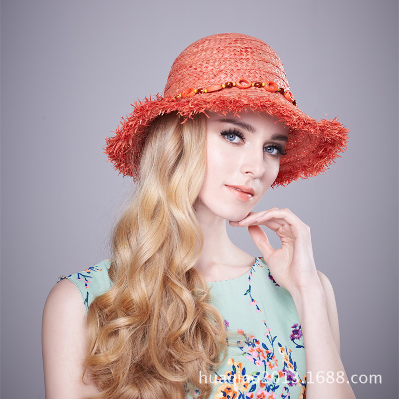 1ad8599c486 Lady Fashion Straw Hat Girls Travel Rafi Grass Hat Female Wide Brim Travel  Raffia Cap Students Leisure Beach Hat B8995-in Sun Hats from Apparel  Accessories ...