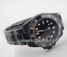 Parnis tres agujas movimiento de los ojos de agua negro hombres reloj mecánico automático de reloj PVD negro zafiro
