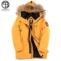Asesmay 2018 Для мужчин утепленная парка из натурального меха с капюшоном пальто Для мужчин зимняя куртка модная Толстая куртка парка градусов 40