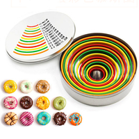 12Pcs/set Colored Round Circle Cookie Cutter Stainless Steel Biscuit tools Cake Ring Mousse Mould Bakeware