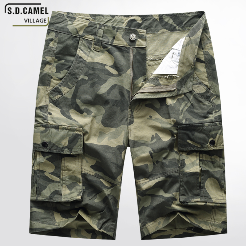 S.D.CAMEL Camouflage Cargo Shorts Men 2018 New Mens Casual Shorts Male Loose Work Shorts Summer Military Short Pants Plus Size