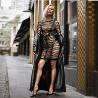 2018 New Women Bandage Dress Sexy Long Sleeve O neck Patchwork Luxury Club Evening Party Summer Dresses Bodycon Mini
