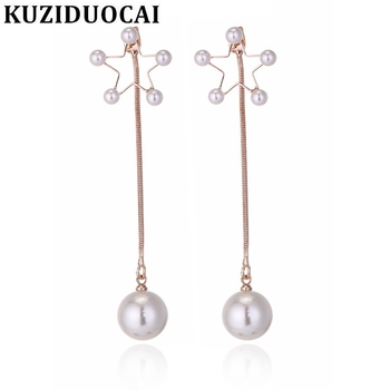 Kuziduocai 2018 New ! Fashion Fine Jewelry Copper Alloy Pearl Pentagram Star Tassel Stud Earrings For Gentlewoman Gifts E-1270 image