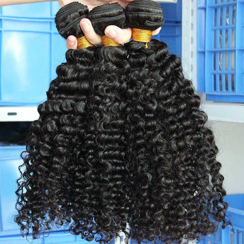3B 3C Kinky Curly Weave մարդկային մազերի - Մարդու մազերը (սև) - Լուսանկար 5