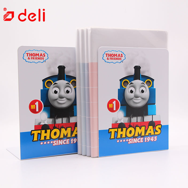 Deli 1Pair Metal Bookends Book Stands Cute Kawaii Book Shelf Holder Thomas & Friends File Document Book Ends Desk Accessories цена
