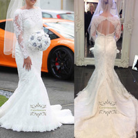 Brilliant 2019 Mermaid Wedding Dress Fit and Flare Women Girl Bride Gown Bridal Party Lce Long Sleeves Boat Neck Keyhole Back