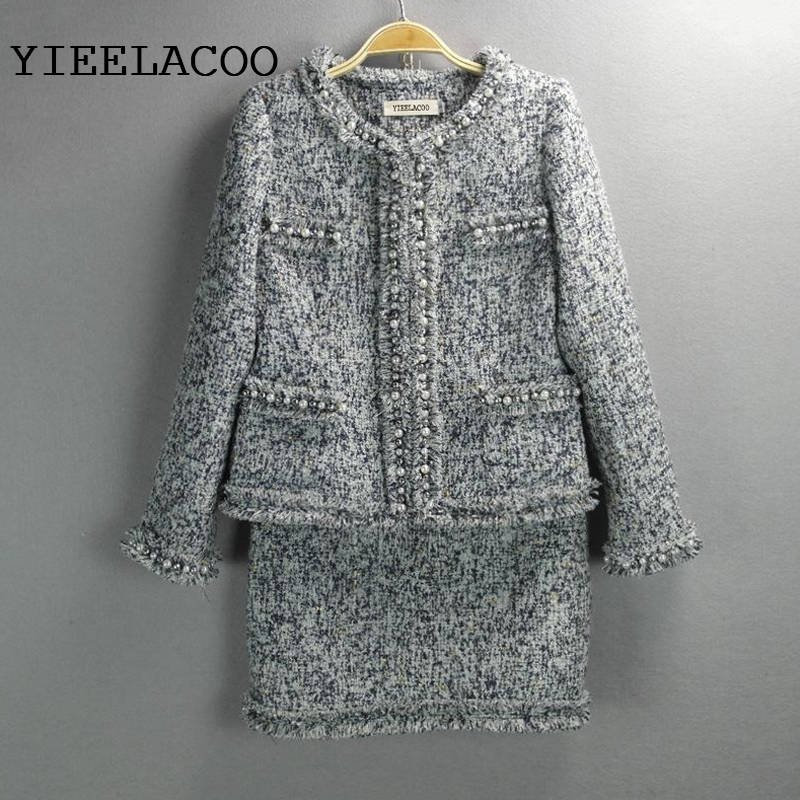 Gray Tweed Jacket + Skirt Suits Hand-beaded Spring /Fall / Winter New Ladies Coats 2-piece Skirt Suit Women's Jackets