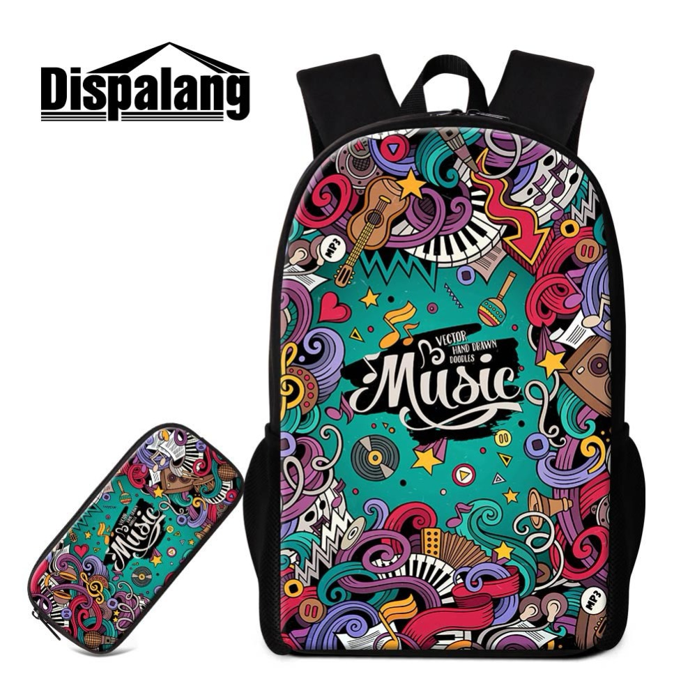 Dispalang 2 PCS Set School Backpack Pencil Case for Childern Art Designer Bookbag Girls DIY Rucksack Cool Day Pack Children