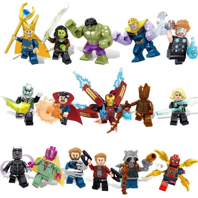 16pcs Super Heroes Blocks Marvel Avengers Infinity War Iron Man Thanos Thor Black Panther Falcon Gamora Hulk Building Block toy